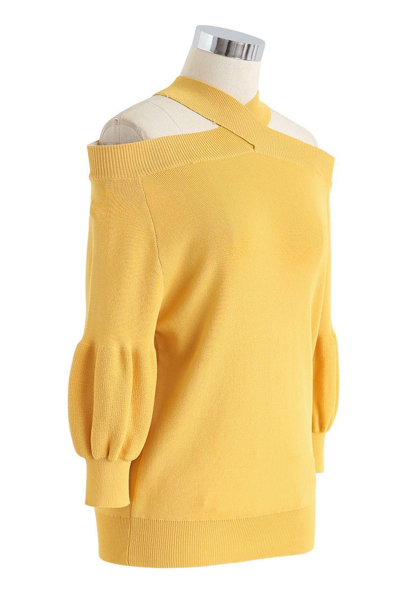 Crisscross Neck Cold-Shoulder Knit Top in Mustard