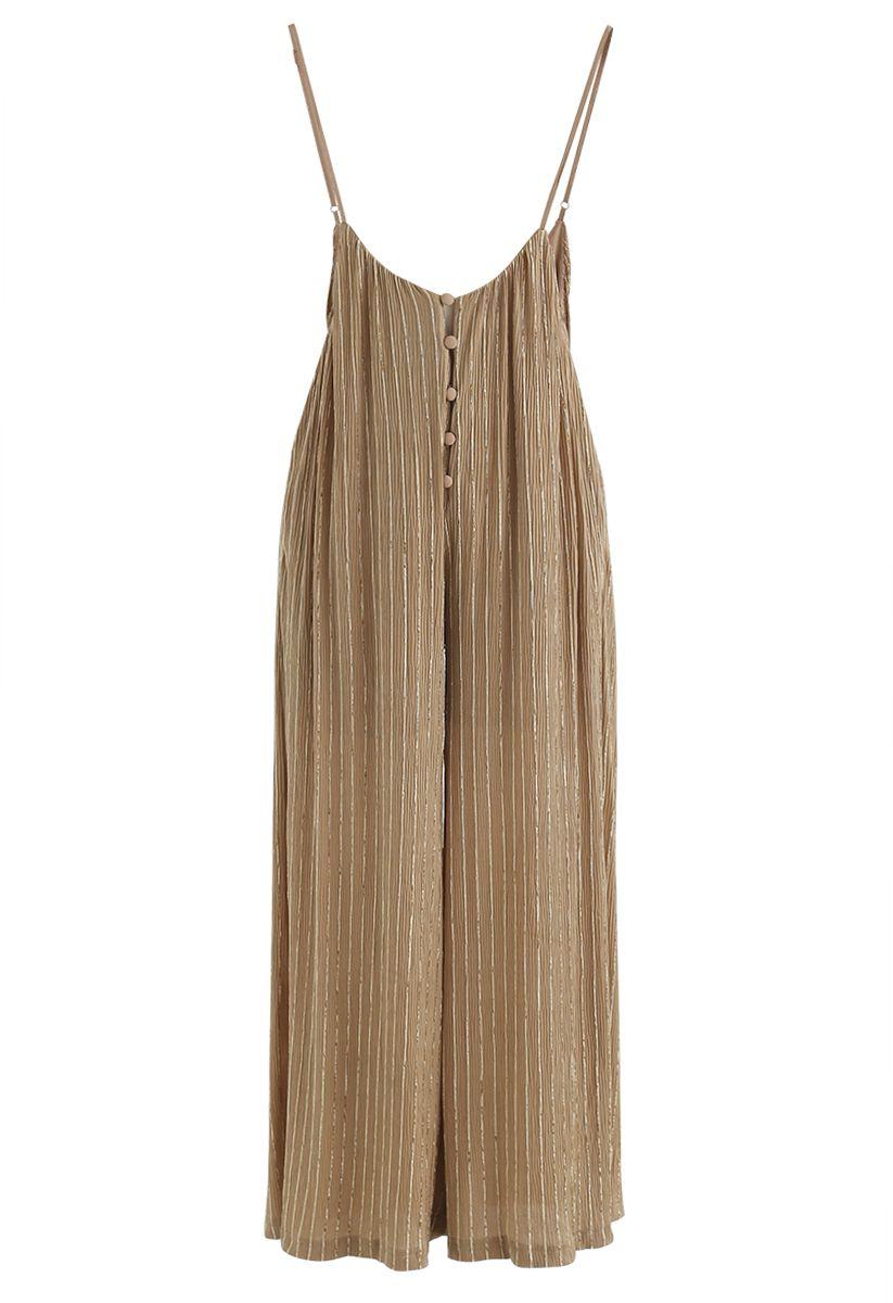 Golden Stripes Buttoned Wide-Leg Cami Jumpsuit