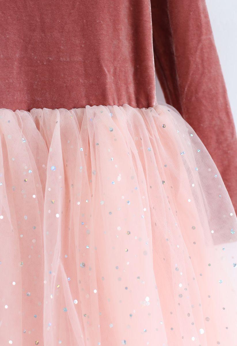 Velvet Sequined Double-Layered Mesh Dress For Kids in Peach