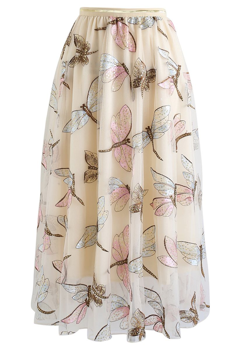 Sequin Dragonfly Embroidery Mesh Tulle Skirt in Cream