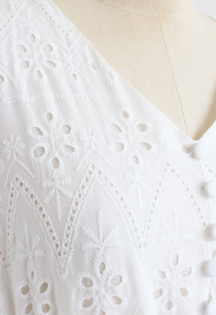 Zigzag Eyelet Floral Embroidered Flare Midi Dress in White