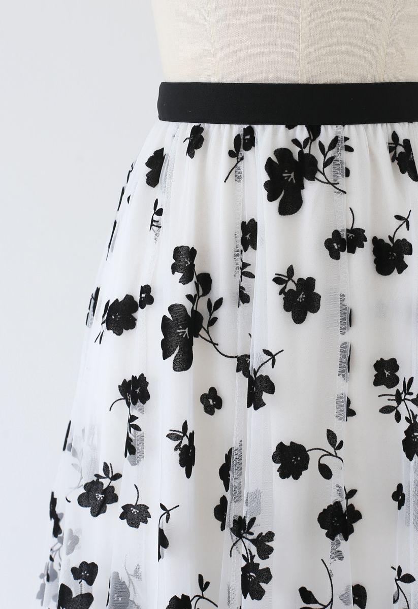 3D Posy Double-Layered Mesh Midi Skirt in White