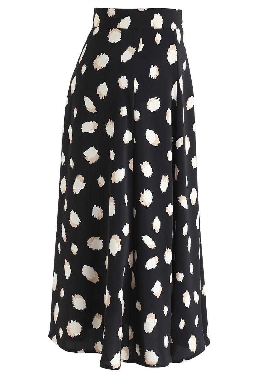 Bicolor Irregular Spots Print Midi Skirt in Black