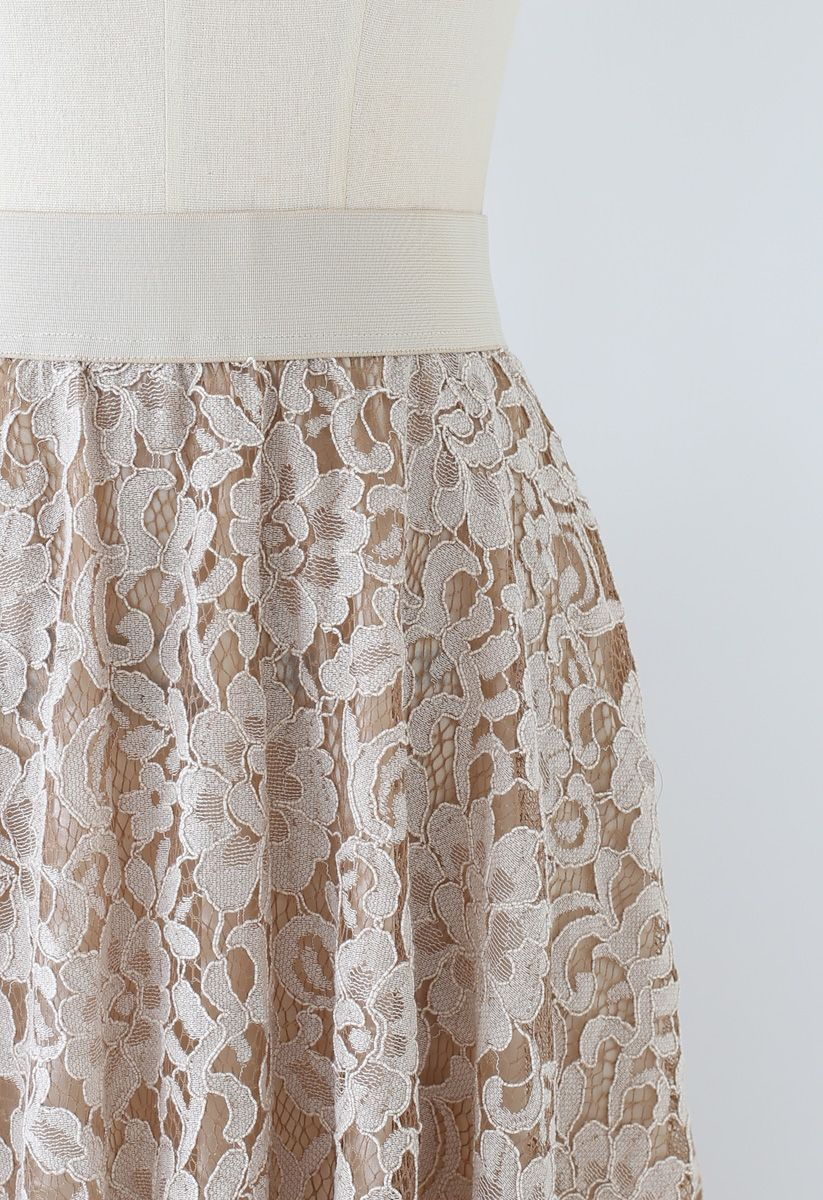Full Floral Lace Midi Skirt in Light Tan