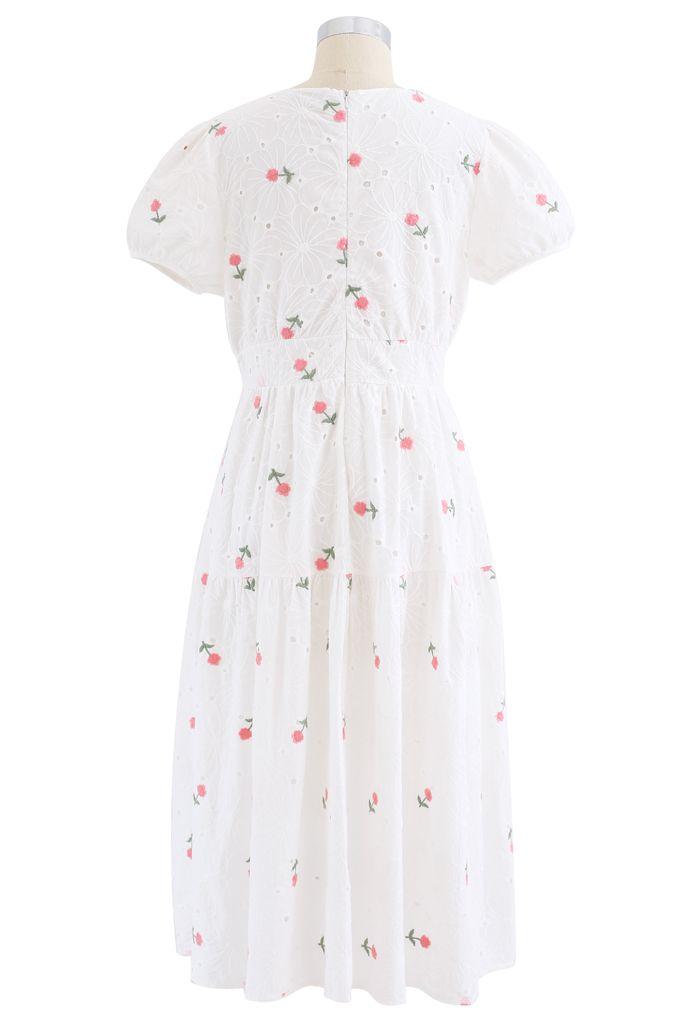Pink Posy Embroidered Eyelet Midi Dress
