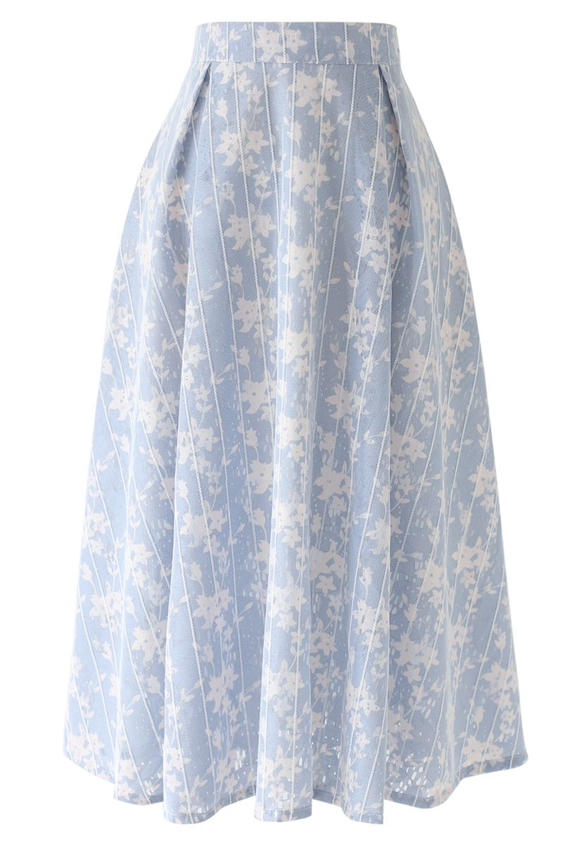 Shadow of Flowers Striped Mesh Midi Skirt
