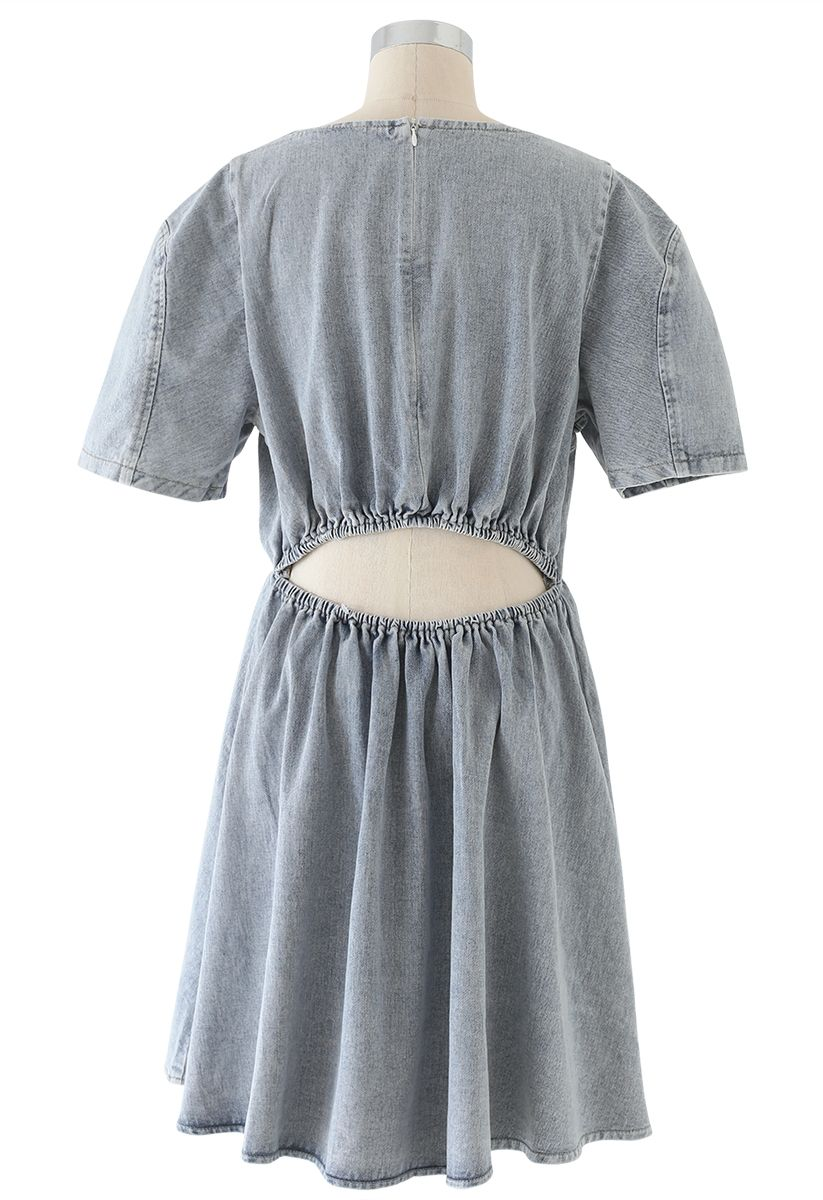 Open-Waisted Hi-Lo Denim Midi Dress in Washed-Blue