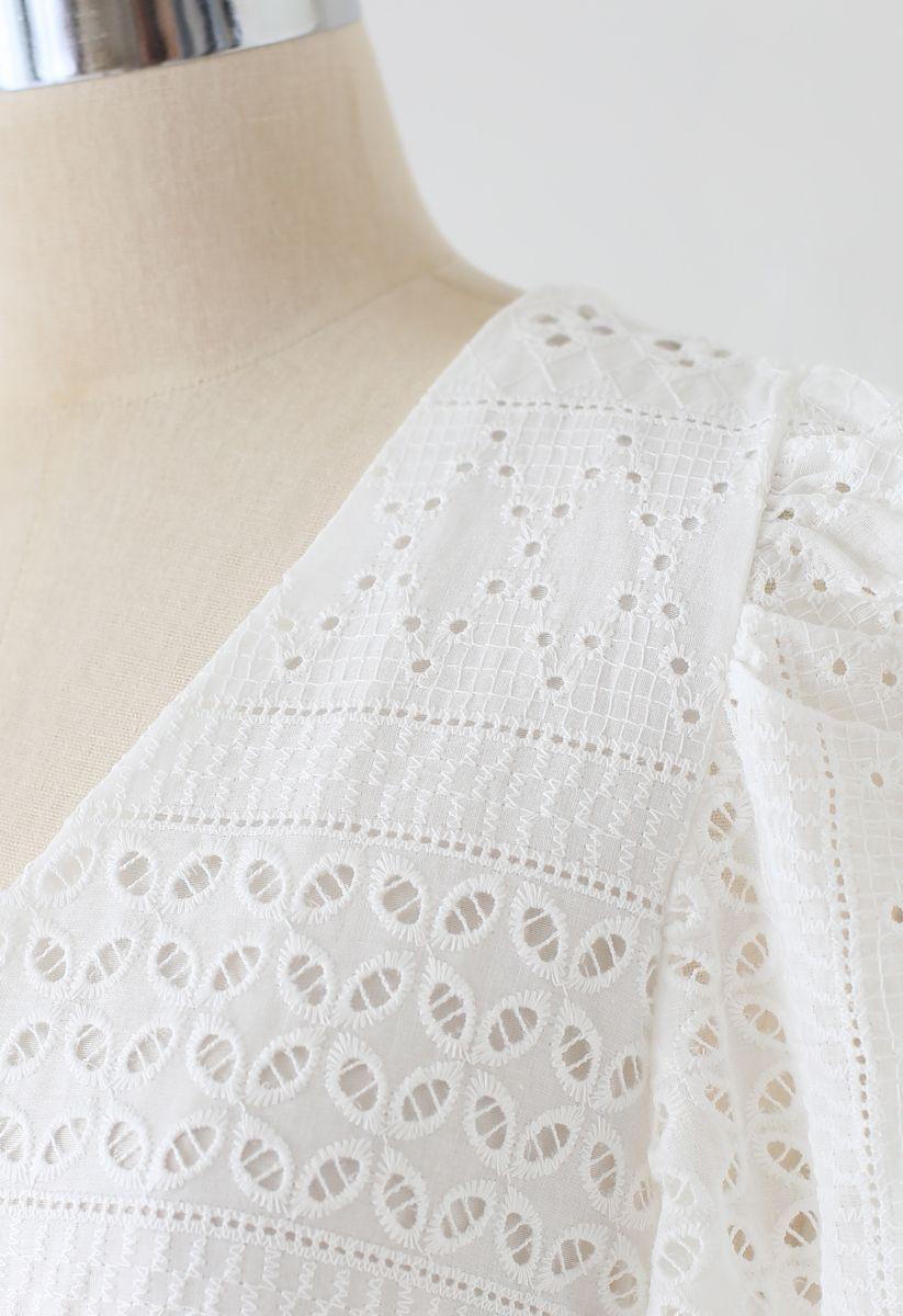 Geo Eyelet Embroidered Button Down V-Neck Midi Dress in White