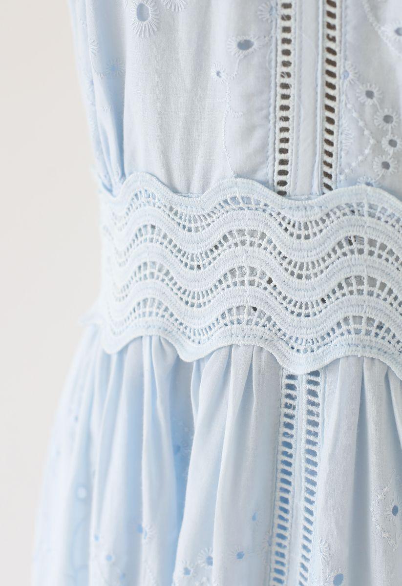 Diamond Embroidery Eyelet Frill Hem Dress in Baby Blue