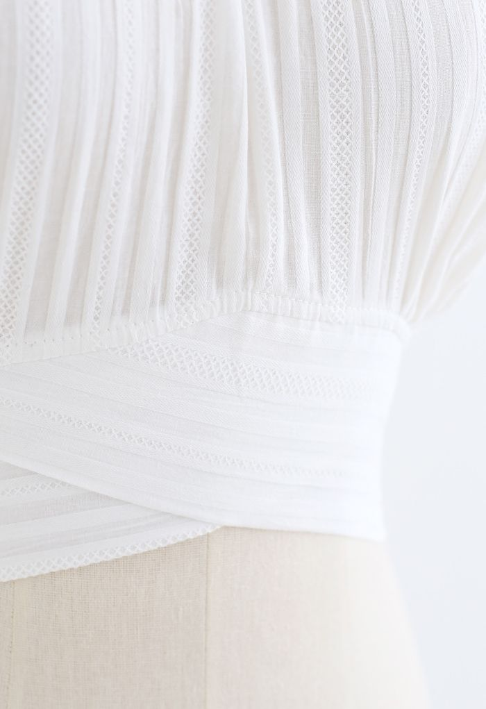 Stripe Embossed Tie-Back Crop Top in White