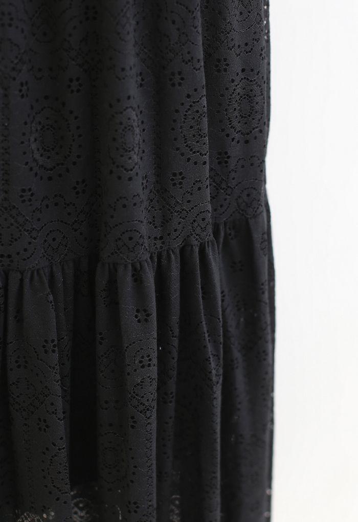 Frill Hem Full Floral Lace Midi Skirt in Black