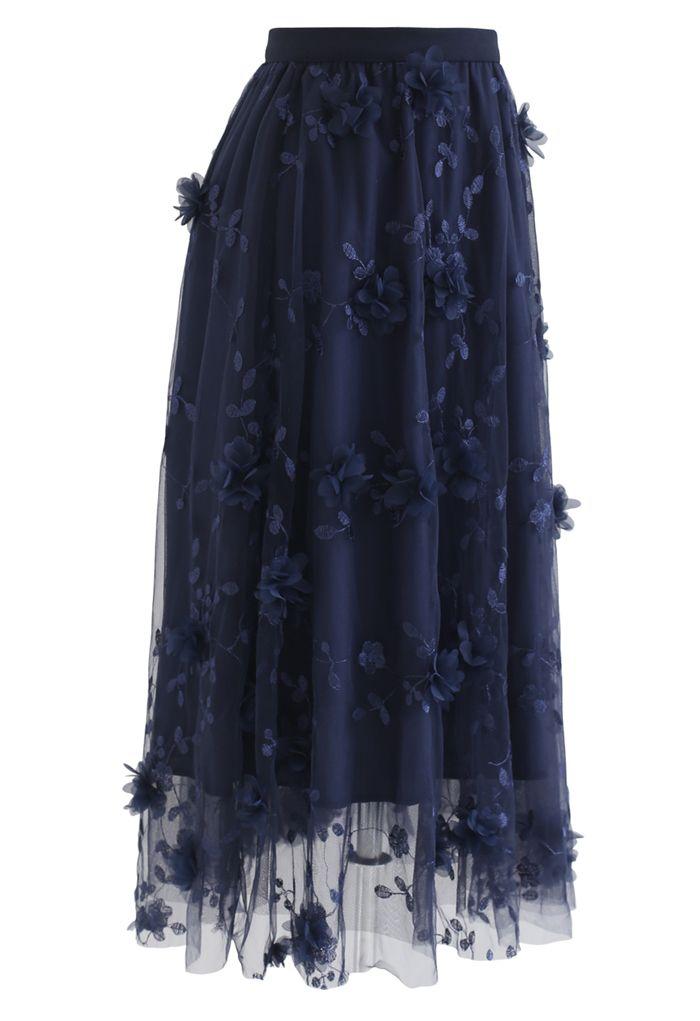 3D Mesh Flower Embroidered Tulle Midi Skirt in Navy