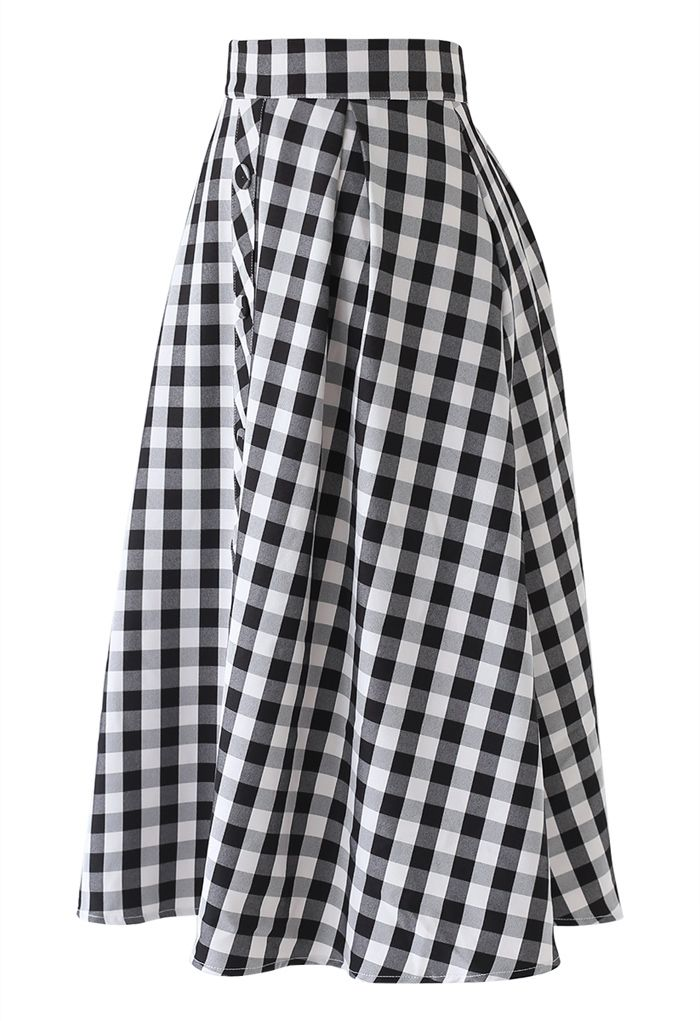 Buttoned Front Check Print A-Line Midi Skirt in Black