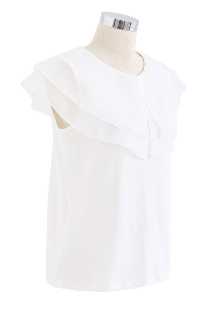 Tiered Organza Trim Sleeveless Top in White