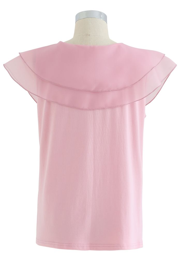 Tiered Organza Trim Sleeveless Top in Pink