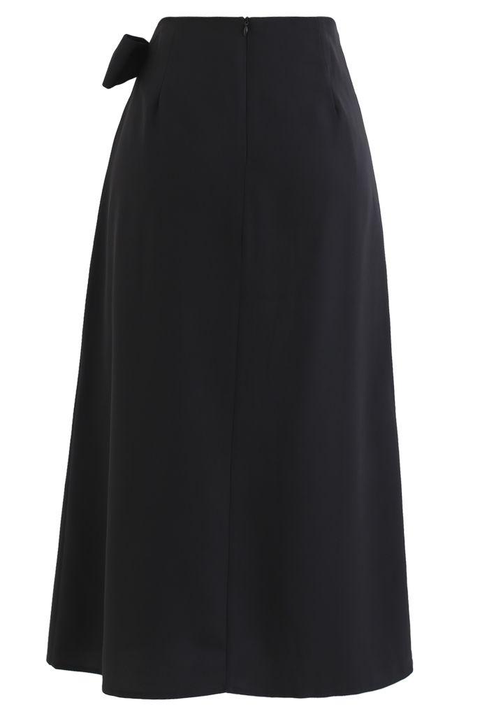 Bow-Tied Waist Shift Midi Skirt in Black