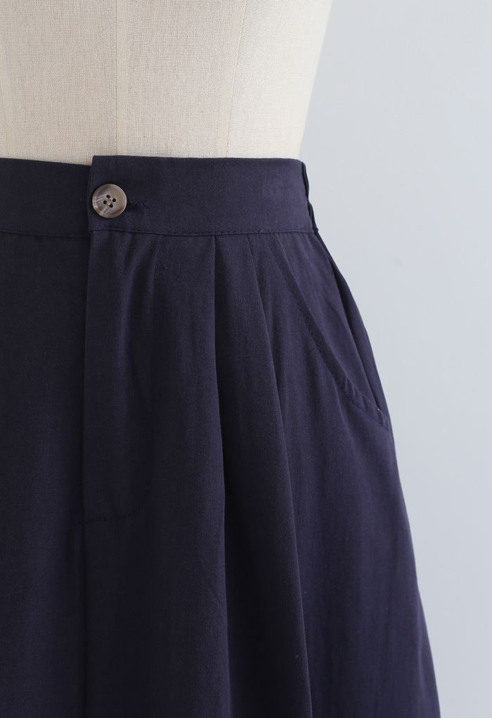 Slant Pockets A-Line Midi Skirt in Navy