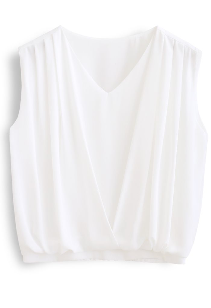 Sleeveless V-Neck Pleated Chiffon Top in White