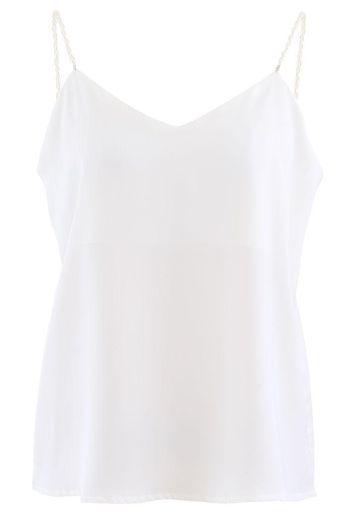 Pearl Straps Satin Cami Tank Top in White
