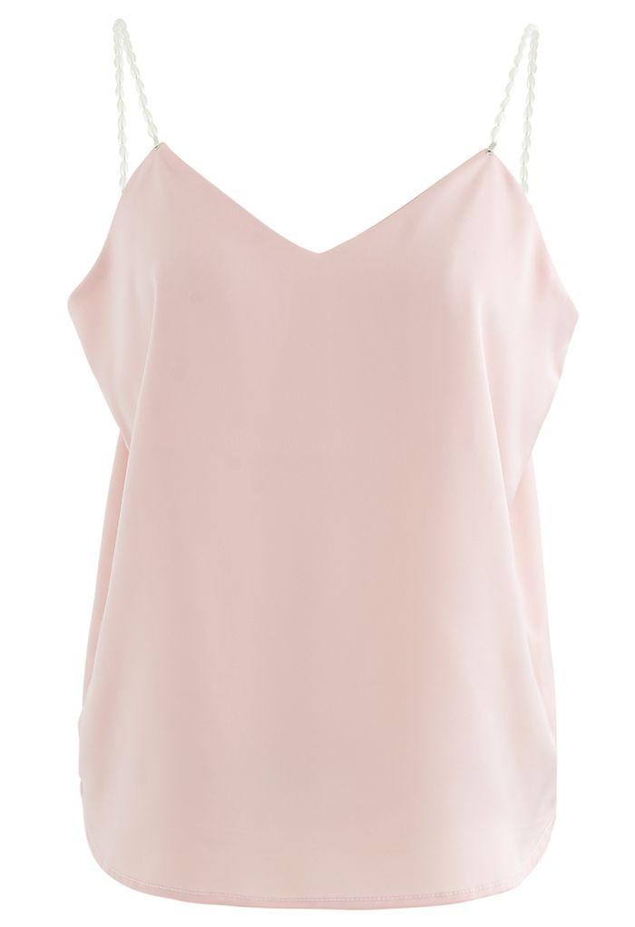 Pearl Straps Satin Cami Tank Top in Pink