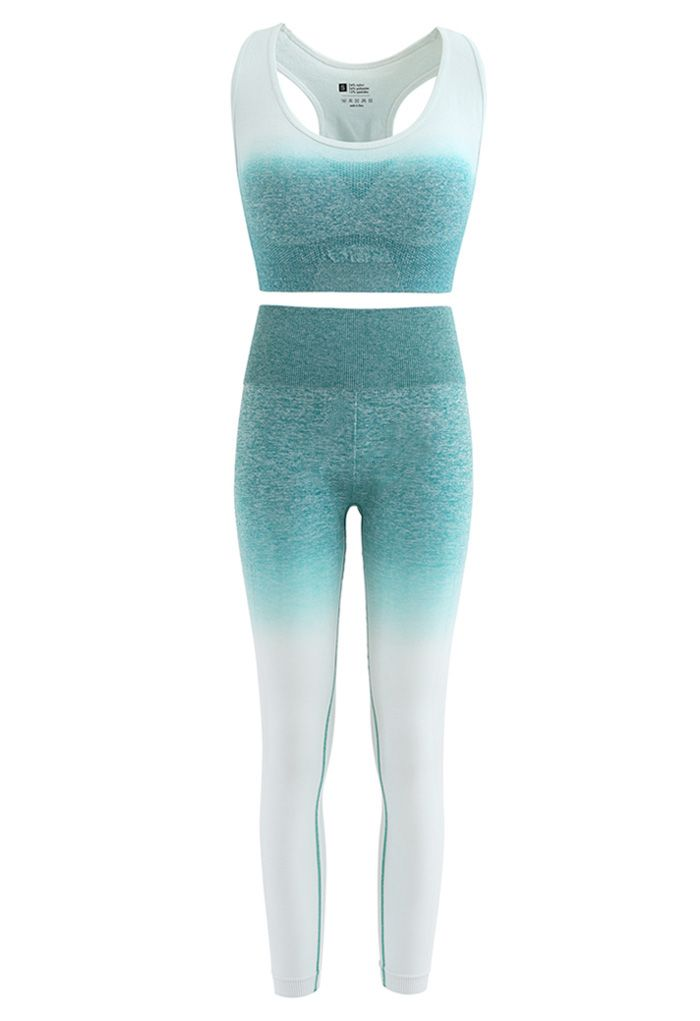 Gradient Medium-Impact Sports Bra and High-Rise Ankle-Length Leggings Set in Green