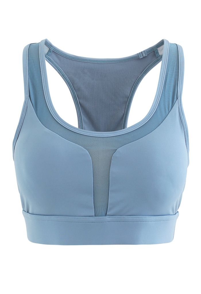 I-Shaped Back Pocket Mesh-Insert Low-Impact Sports Bra in Blue