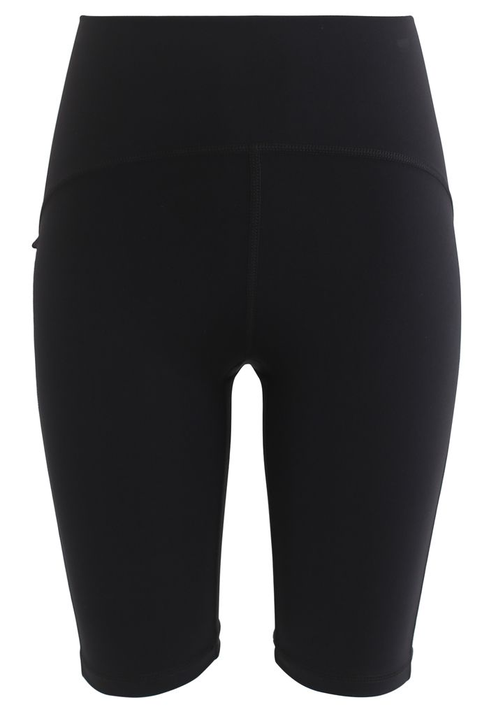 Seam Detail High-Waisted Sculpt Legging Shorts in Black