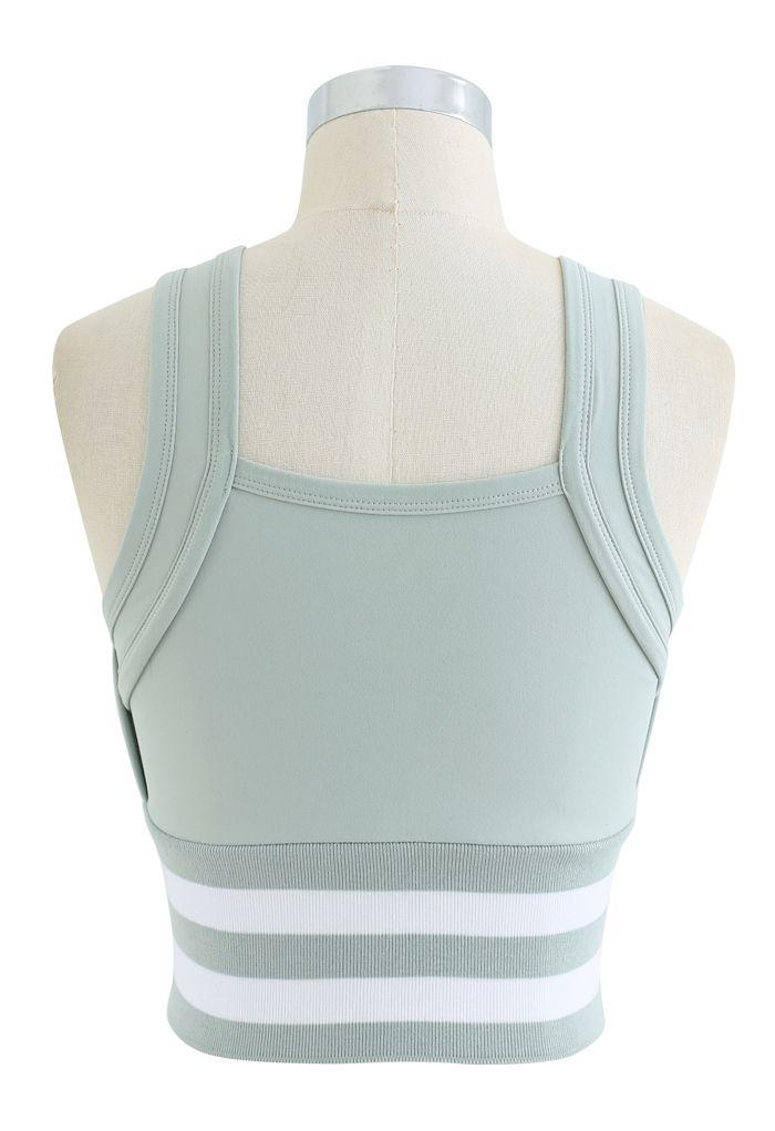Ribbed Block Stripe Zip Front High-Impact Sports Bra in Mint