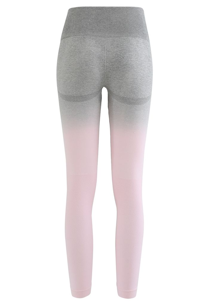 Gradient Medium-Impact Sports Bra and High-Rise Ankle-Length Leggings Set in Light Pink