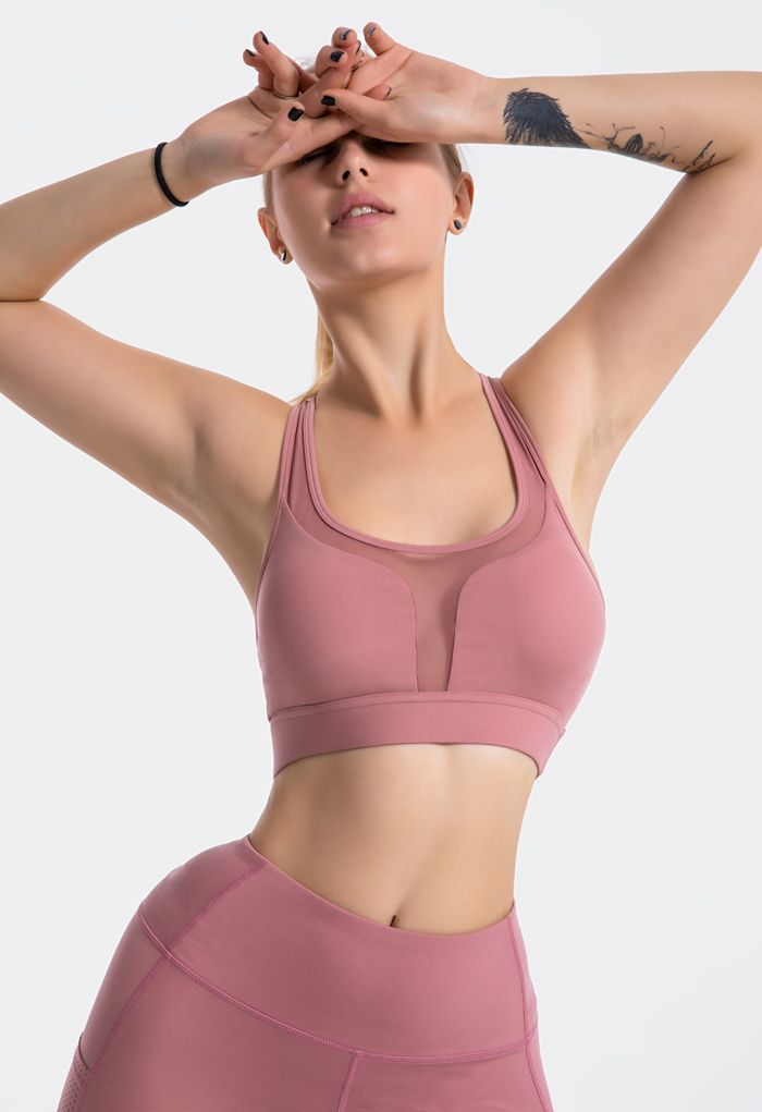 I-Shaped Back Pocket Mesh-Insert Low-Impact Sports Bra in Dusty Pink