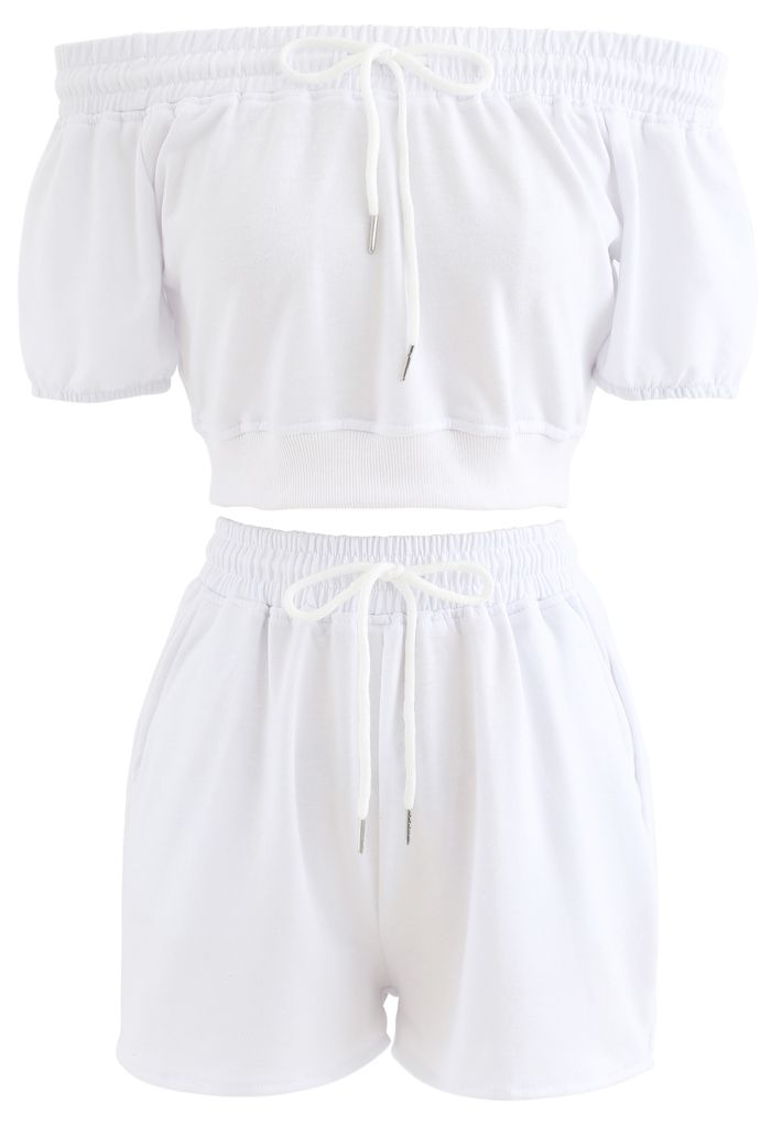 Drawstring Off-Shoulder Crop Top and Shorts Set in White