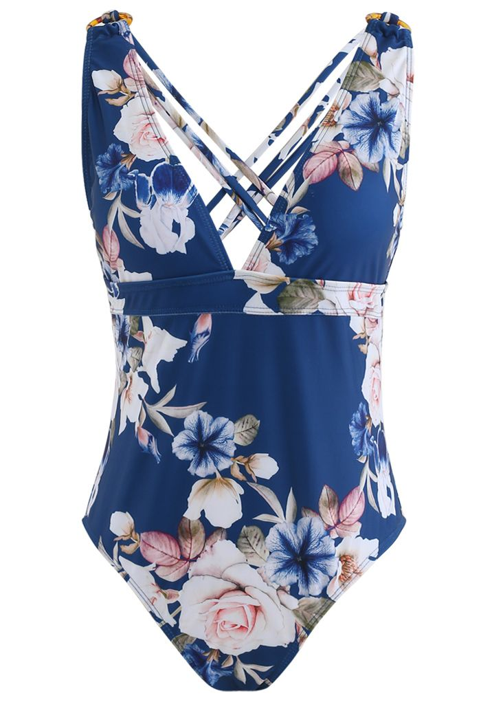 Strappy Crisscross Back Floral One-Piece Swimsuit