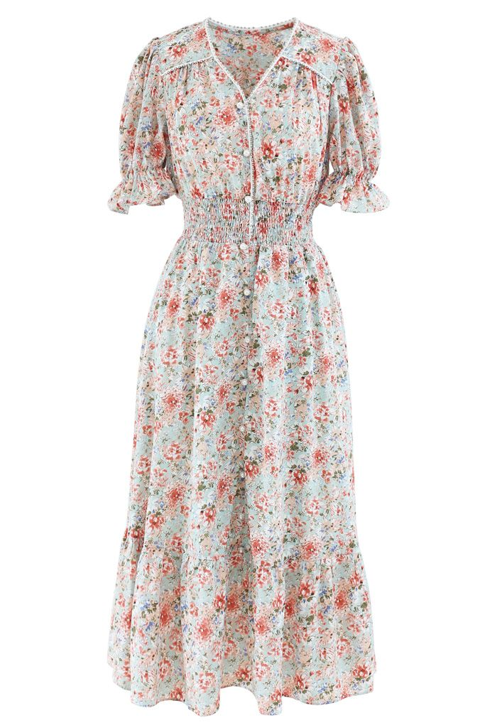 Crystal and Pearl Trim Frilling Floral Chiffon Dress in Coral