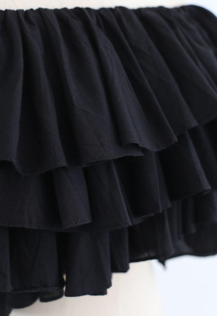 Tiered Ruffle Off-Shoulder Crop Top in Black