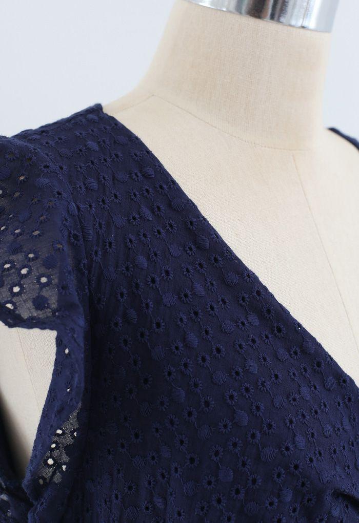 Buckle Belt V-Neck Ruffle Embroidered Eyelet Dress in Navy