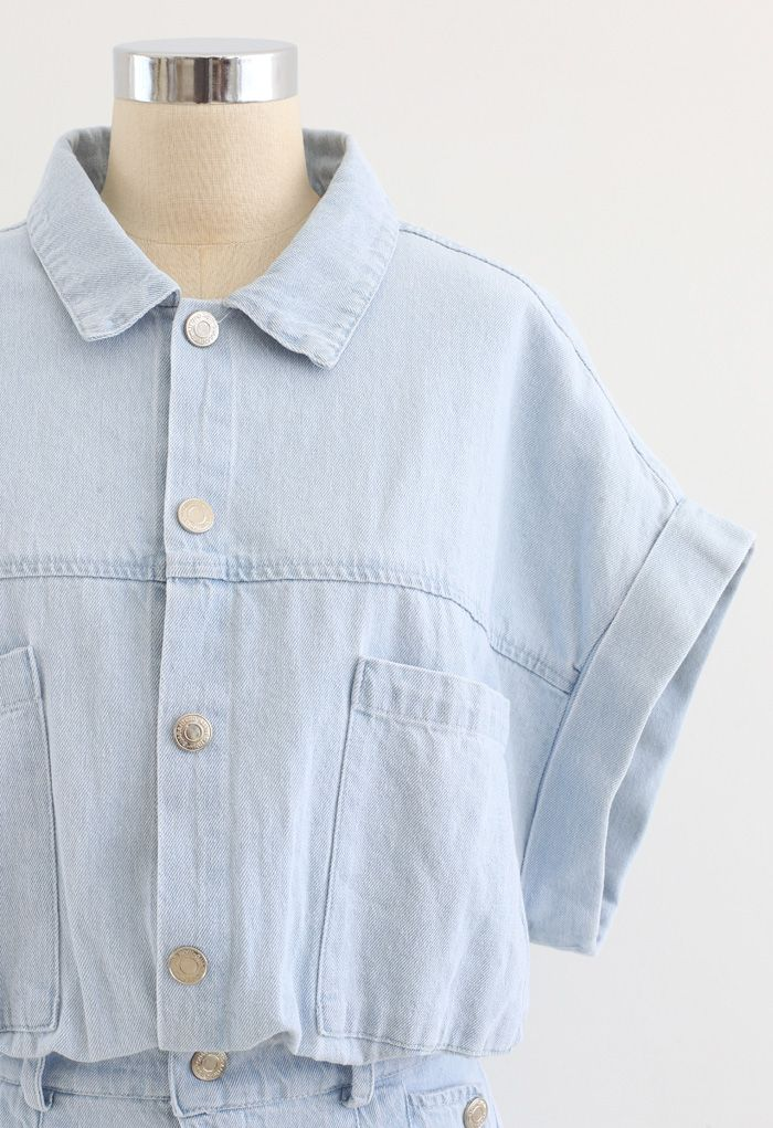 Pockets Button Down Light-Wash Denim Playsuit