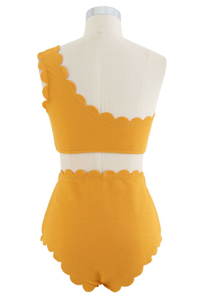 One-Shoulder Scalloped Bikini Set in Mustard