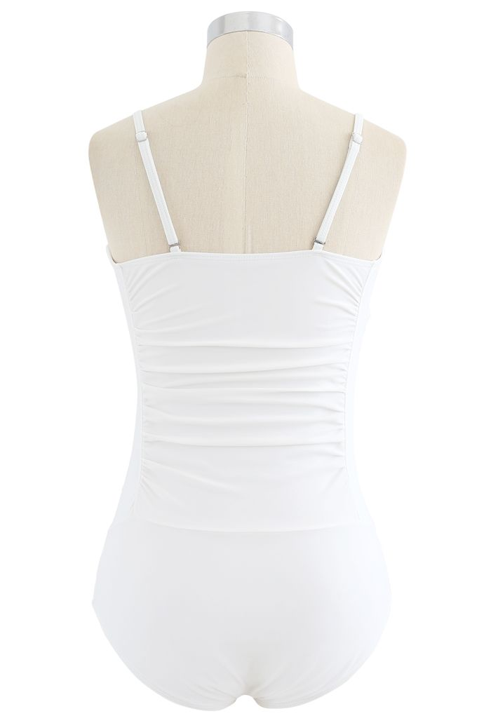 Ruched Design One-Piece Swimsuit in White