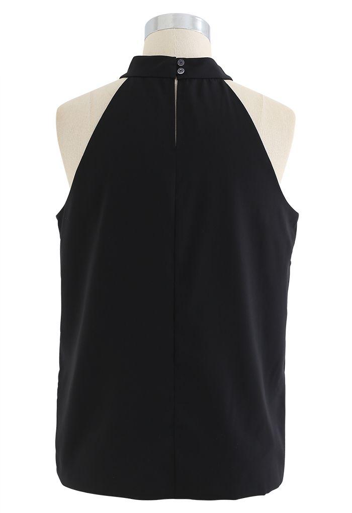 Sleek Loose Fit Halter Top in Black