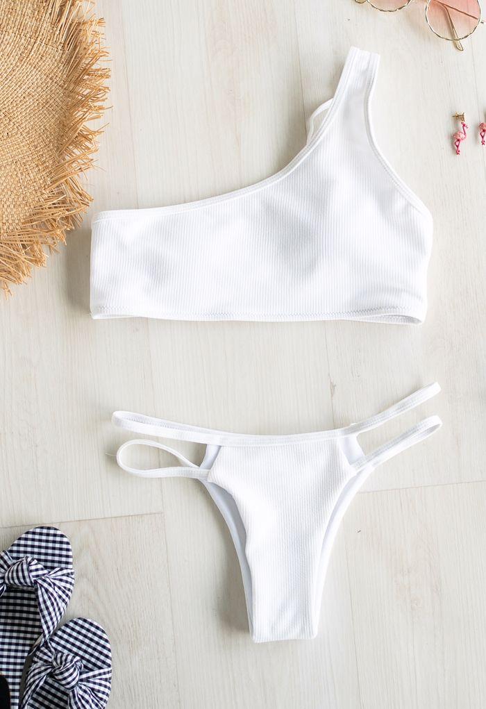 One-Shoulder Ribbed Low Rise Bikini Set