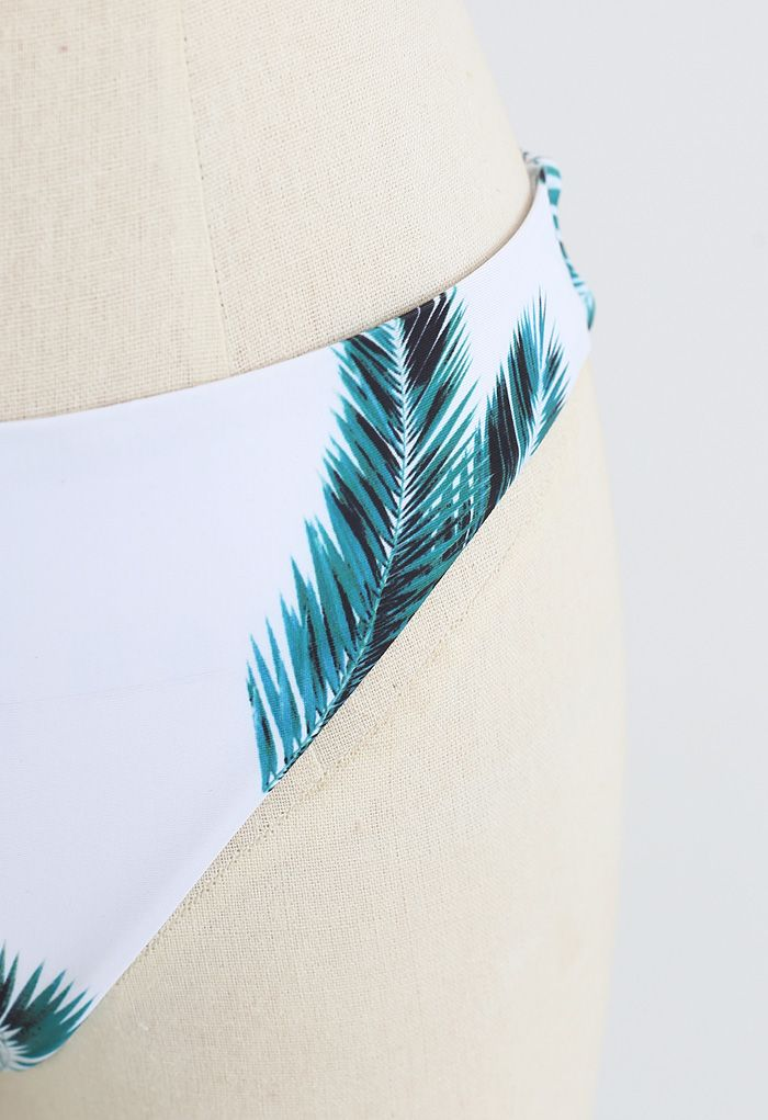 Adjustable Straps Leaf Print High-Cut Leg Bikini Set in Black