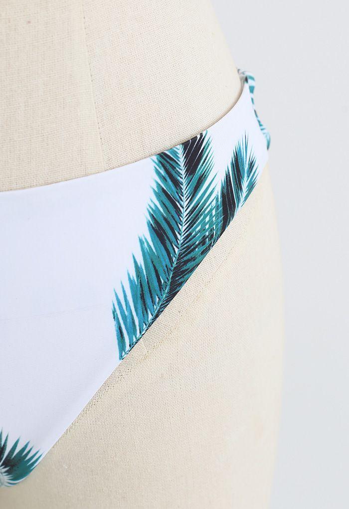 Adjustable Straps Leaf Print High-Cut Leg Bikini Set in Pink