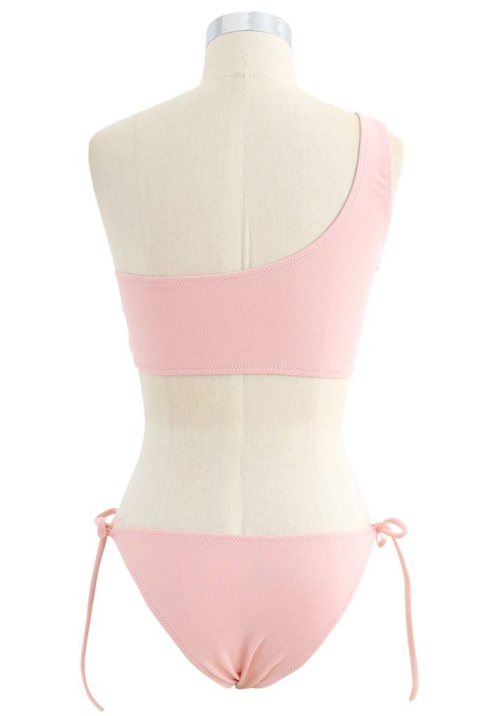One-Shoulder Tie Side Low Rise Bikini Set in Pink