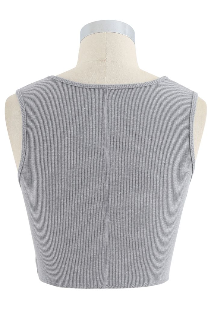 Twist Front Ribbed Sleeveless Low-Impact Sports Bra in Grey