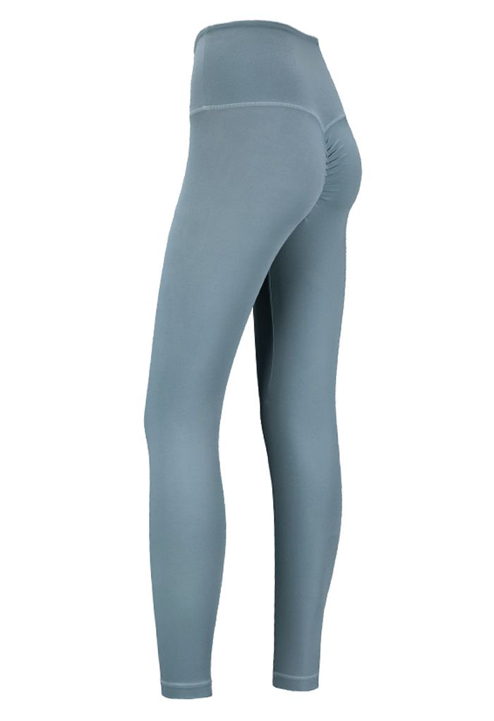 High Rise Peach Buttock Ankle-Length Leggings in Dusty Blue
