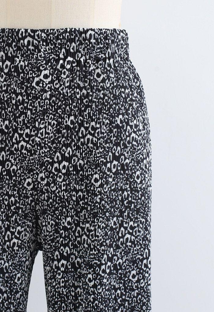 Animal Print Pleated Split Wide-Leg Pants in Black