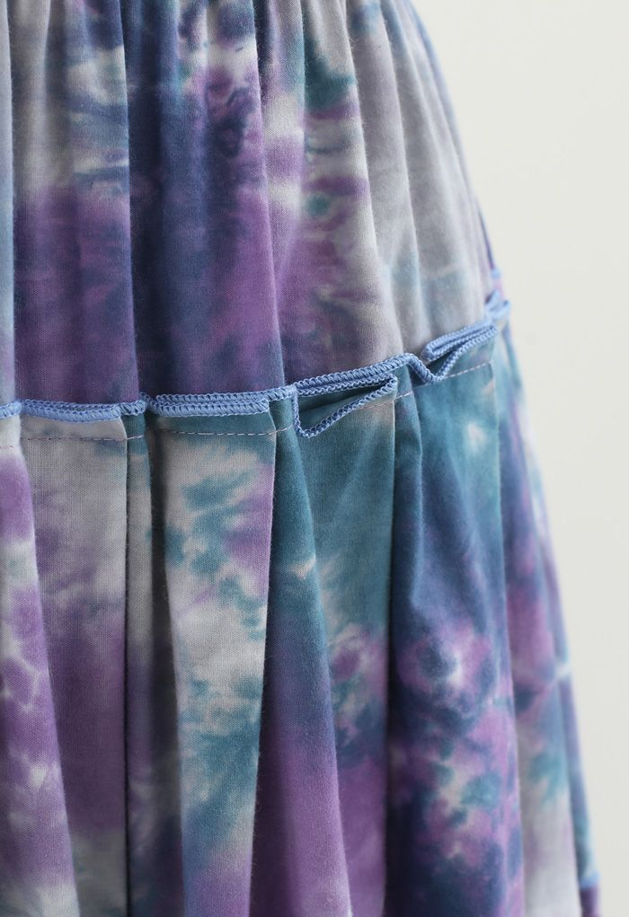 Tie-Dye Pleated Frill Midi Skirt in Purple
