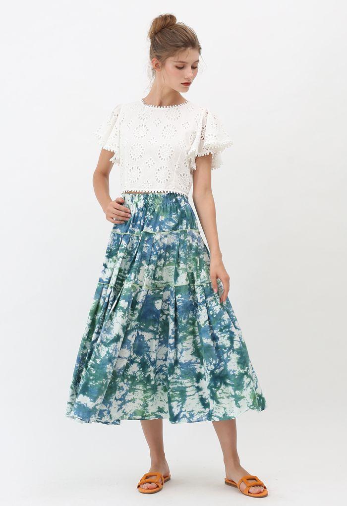 Tie-Dye Pleated Frill Midi Skirt in Teal