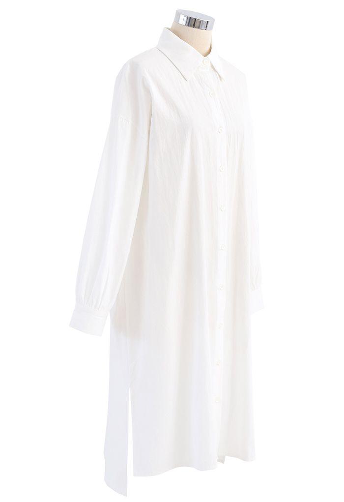 Asymmetric Split Hem Button Down Shirt Dress in White