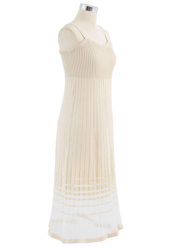 Striped Mesh Spliced Hem Knit Cami Dress in Cream
